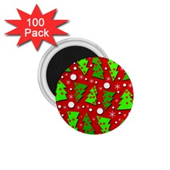 Twisted Christmas Trees 1 75  Magnets (100 Pack)  by Valentinaart