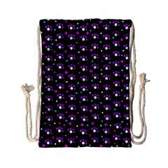 Purple Dots Pattern Drawstring Bag (small) by Valentinaart