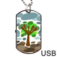 Tree Dog Tag USB Flash (One Side) by Valentinaart