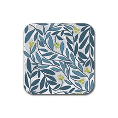 Blue Floral Design Rubber Square Coaster (4 Pack)  by Valentinaart