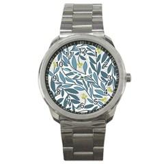 Blue Floral Design Sport Metal Watch by Valentinaart
