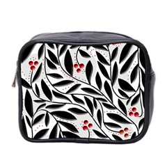 Red, Black And White Elegant Pattern Mini Toiletries Bag 2 Side by Valentinaart