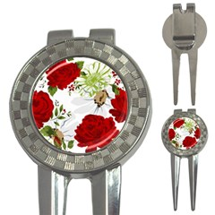 Red Roses 3 In 1 Golf Divots by fleurs