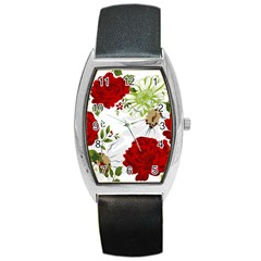 Red Roses Barrel Style Metal Watch by fleurs