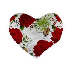 Red Roses Standard 16  Premium Flano Heart Shape Cushions by fleurs