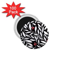 Black, Red, And White Floral Pattern 1 75  Magnets (100 Pack)  by Valentinaart