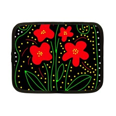 Red flowers Netbook Case (Small)  by Valentinaart