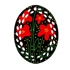 Red Flowers Ornament (oval Filigree)  by Valentinaart