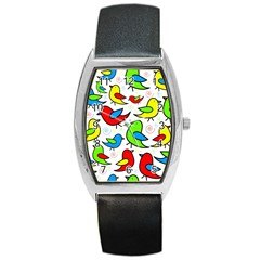 Colorful Cute Birds Pattern Barrel Style Metal Watch by Valentinaart