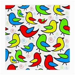 Colorful Cute Birds Pattern Medium Glasses Cloth by Valentinaart