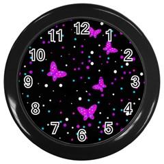 Pink Butterflies  Wall Clocks (black) by Valentinaart
