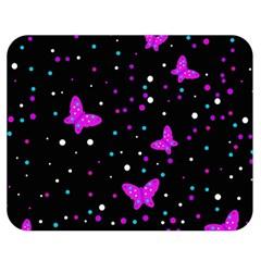 Pink butterflies  Double Sided Flano Blanket (Medium)  by Valentinaart