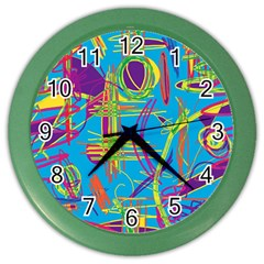 Colorful Abstract Pattern Color Wall Clocks by Valentinaart