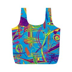 Colorful Abstract Pattern Full Print Recycle Bags (m)  by Valentinaart