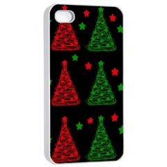 Decorative Christmas Trees Pattern Apple Iphone 4/4s Seamless Case (white) by Valentinaart