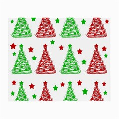 Decorative Christmas Trees Pattern   White Small Glasses Cloth by Valentinaart
