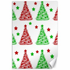 Decorative Christmas trees pattern - White Canvas 24  x 36  by Valentinaart