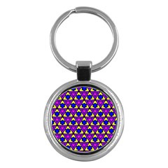 Triangles and honeycombs pattern                                                                                                   			Key Chain (Round) by LalyLauraFLM
