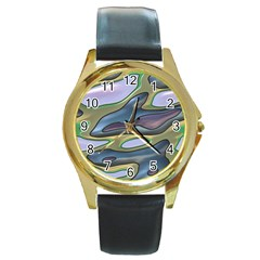 3d Shapes                                                                                                      round Gold Metal Watch by LalyLauraFLM