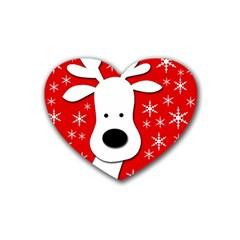 Christmas Reindeer   Red Rubber Coaster (heart)  by Valentinaart