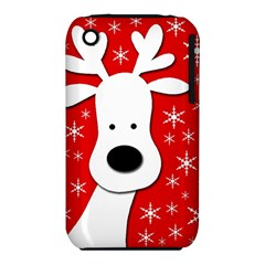 Christmas Reindeer   Red Apple Iphone 3g/3gs Hardshell Case (pc+silicone) by Valentinaart