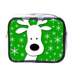 Christmas Reindeer   Green Mini Toiletries Bags by Valentinaart