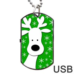 Christmas Reindeer   Green Dog Tag Usb Flash (two Sides)  by Valentinaart