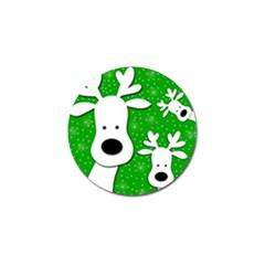 Christmas Reindeer   Green 2 Golf Ball Marker (10 Pack) by Valentinaart