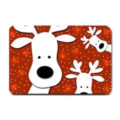 Christmas Reindeer   Red 2 Small Doormat  by Valentinaart