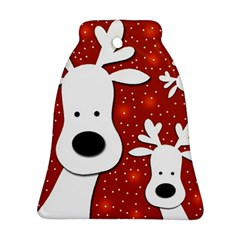 Christmas Reindeer   Red 2 Bell Ornament (2 Sides) by Valentinaart