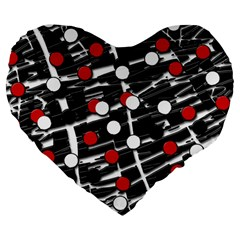 Red And White Dots Large 19  Premium Heart Shape Cushions by Valentinaart