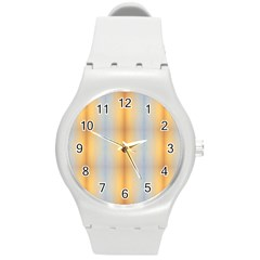 Blue Yellow Summer Pattern Round Plastic Sport Watch (m) by Costasonlineshop