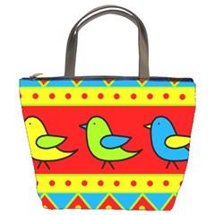 Birds Pattern Bucket Bags by Valentinaart
