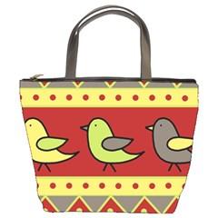 Brown bird pattern Bucket Bags by Valentinaart