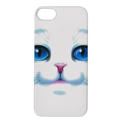 Cute White Cat Blue Eyes Face Apple iPhone 5S/ SE Hardshell Case