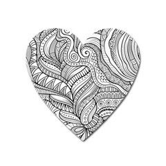 Zentangle Art Patterns Heart Magnet by Mugomugo