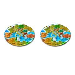 World Map Cufflinks (Oval) by Zeze