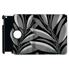 Gray Plant Design Apple Ipad 2 Flip 360 Case by Valentinaart