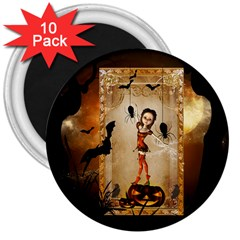 Halloween, Cute Girl With Pumpkin And Spiders 3  Magnets (10 Pack)  by FantasyWorld7