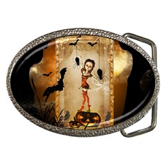 Halloween, Cute Girl With Pumpkin And Spiders Belt Buckles by FantasyWorld7