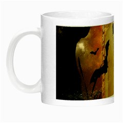 Halloween, Cute Girl With Pumpkin And Spiders Night Luminous Mugs by FantasyWorld7