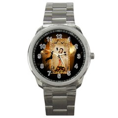 Halloween, Cute Girl With Pumpkin And Spiders Sport Metal Watch by FantasyWorld7