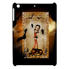 Halloween, Cute Girl With Pumpkin And Spiders Apple Ipad Mini Hardshell Case by FantasyWorld7