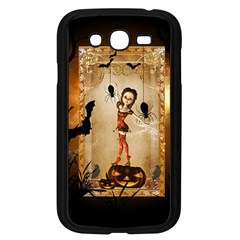 Halloween, Cute Girl With Pumpkin And Spiders Samsung Galaxy Grand Duos I9082 Case (black) by FantasyWorld7