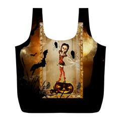 Halloween, Cute Girl With Pumpkin And Spiders Full Print Recycle Bags (l)  by FantasyWorld7