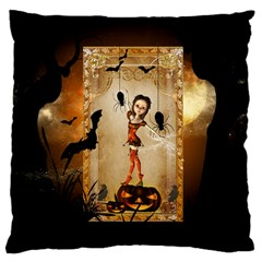 Halloween, Cute Girl With Pumpkin And Spiders Standard Flano Cushion Case (one Side) by FantasyWorld7