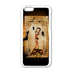 Halloween, Cute Girl With Pumpkin And Spiders Apple Iphone 6/6s White Enamel Case by FantasyWorld7