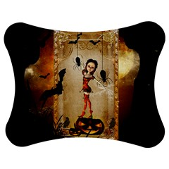 Halloween, Cute Girl With Pumpkin And Spiders Jigsaw Puzzle Photo Stand (bow) by FantasyWorld7