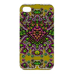Fantasy Flower Peacock With Some Soul In Popart Apple Iphone 4/4s Hardshell Case by pepitasart