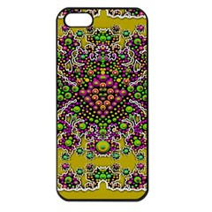 Fantasy Flower Peacock With Some Soul In Popart Apple Iphone 5 Seamless Case (black) by pepitasart